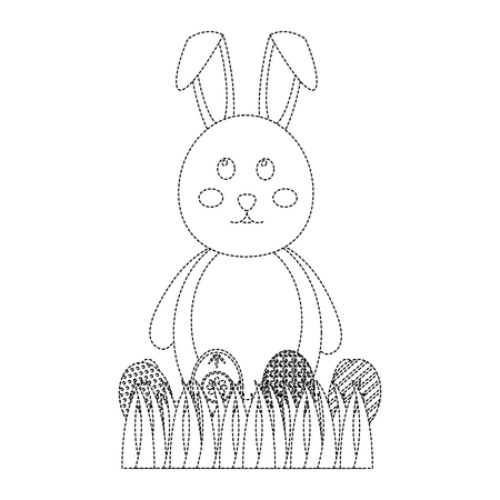 easter bunny with egg icon image vector illustration design  black dotted line Illustration