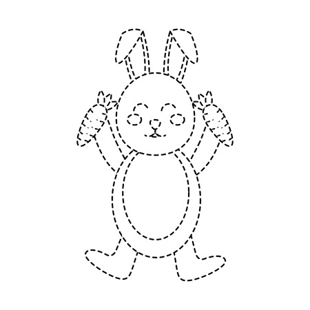 rabbit or bunny holding carrots  icon image vector illustration design  black dotted line Illustration