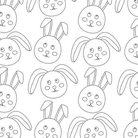 rabbit or bunny pattern image vector illustration design  black dotted line Illustration