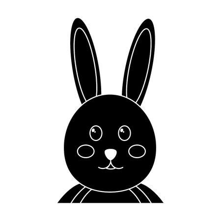 rabbit or bunny icon image vector illustration design  black and white Illustration