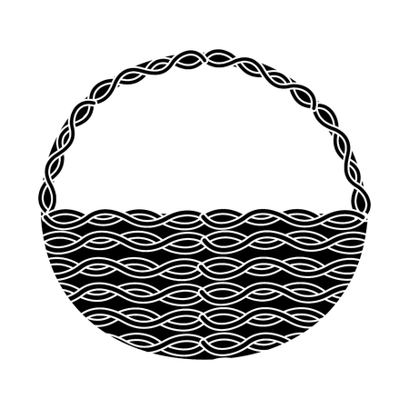 wicker basket icon image vector illustration design  black and white