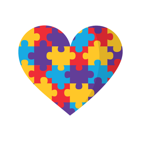 puzzle pieces heart love icon image vector illustration design