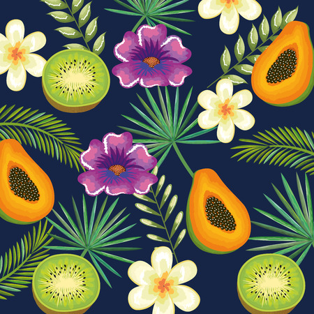 tropical garden with kiwi and papaya vector illustration design fruits, leaves and flowers, summer and exotic concept 일러스트