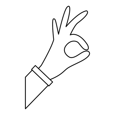 hand grabbing with index and thumb or ok gesture icon image vector illustration design