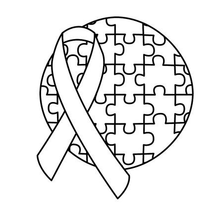 round puzzle pieces with ribbon autism emblem vector illustration outline design