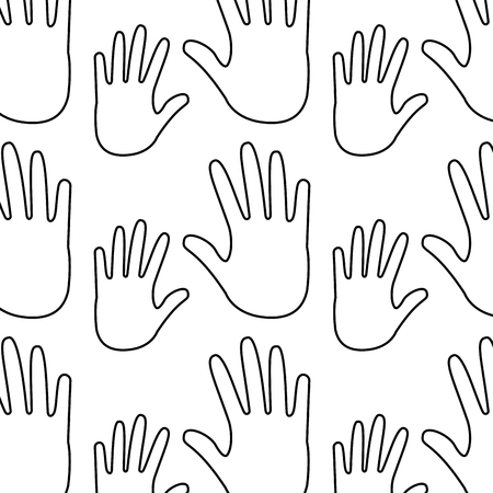 seamless pattern opened hands support symbol vector illustration outline design