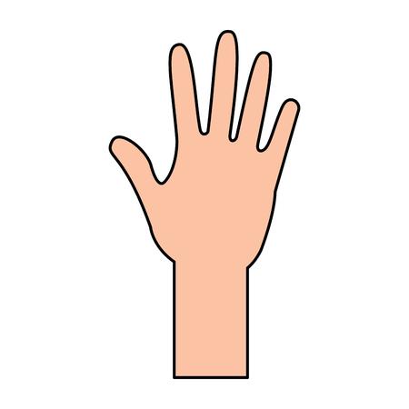 human hand arm open raised vector illustration