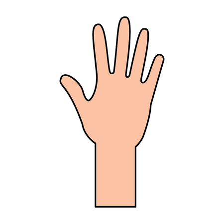 human hand arm open raised vector illustration