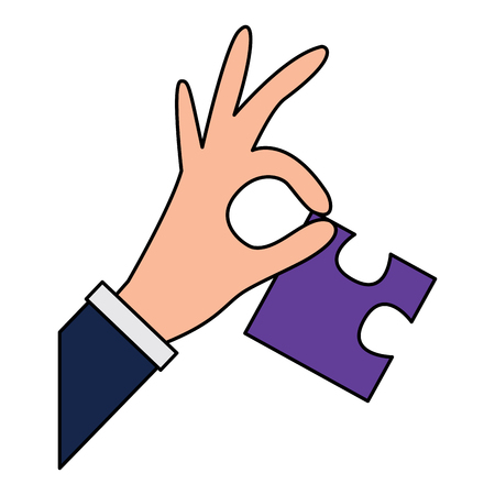 hand holding piece puzzle jigsaw vector illustration
