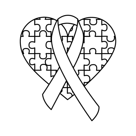 puzzle heart ribbon autism awareness vector illustration outline design