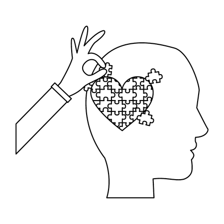 head profile with puzzle heart autism awareness vector illustration outline design