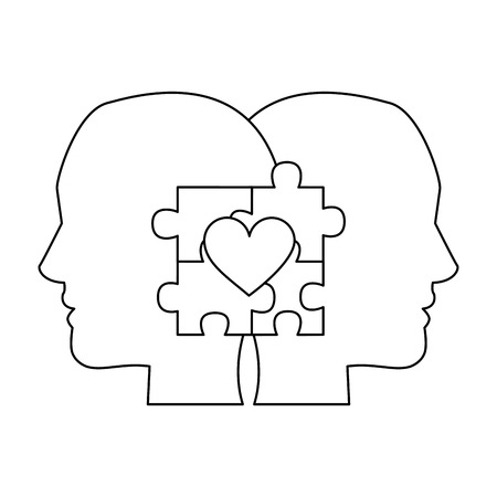 autism awareness day profile heads with puzzle heart vector illustration outline design Stock Illustratie