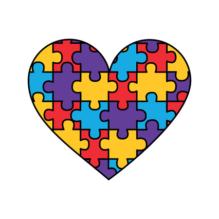 heart assembled from puzzle pieces love charity concept vector illustration