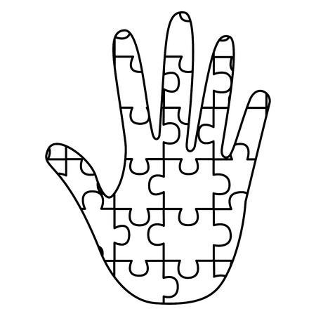 hand made puzzle pieces for autism awareness care vector illustration outline design Illustration