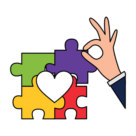 hand complete a jigsaw puzzle heart vector illustration