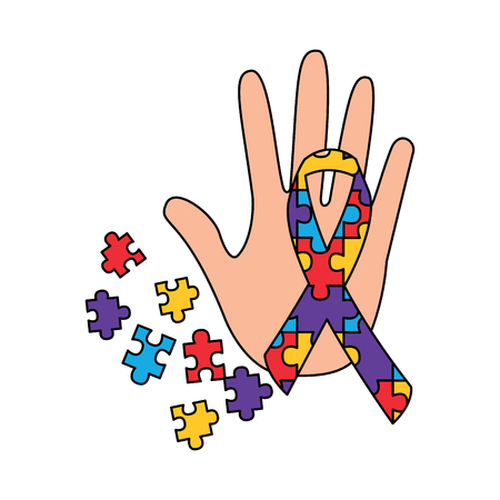 hand puzzle pieces and ribbon autism concept vector illustration Illustration