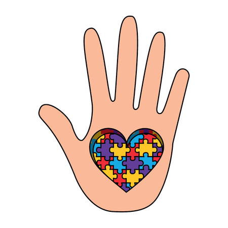 hand with puzzle heart autism symbol vector illustration