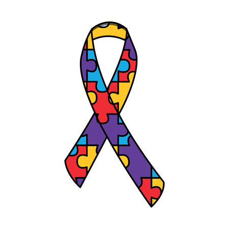 autism awareness ribbon made with jigsaw puzzle vector illustration