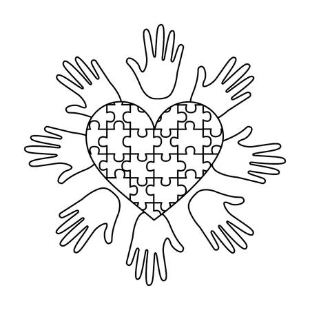 パズルハートハンドは自閉症意識ベクトルイラストアウトラインデザインをサポート  イラスト・ベクター素材