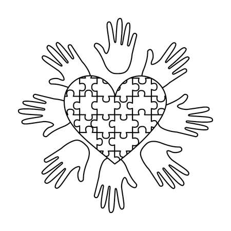 puzzle heart hands support autism awareness vector illustration outline design
