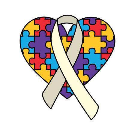 puzzle heart ribbon autism awareness vector illustration Ilustrace