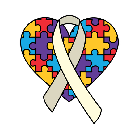 puzzle heart ribbon autism awareness vector illustration Illustration