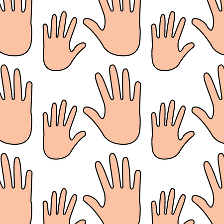 seamless pattern opened hands support symbol vector illustration Ilustrace