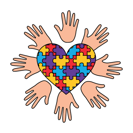 puzzle heart hands support autism awareness vector illustration Illustration