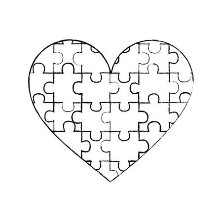 Herz aus Puzzleteilen Liebe Konzept Vektor-Illustration Standard-Bild - 95503247