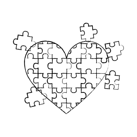 jigsaw puzzle heart pieces connect solution vector illustration