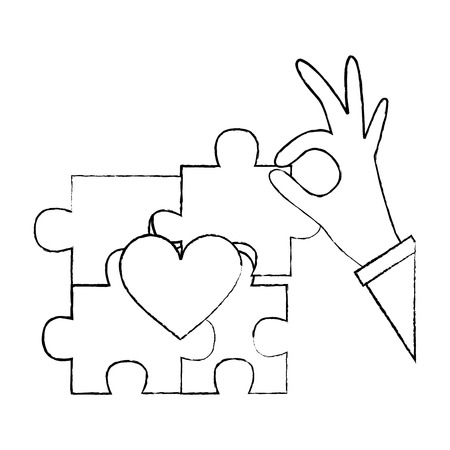 hand complete a jigsaw puzzle heart vector illustration Stockfoto - 95503611