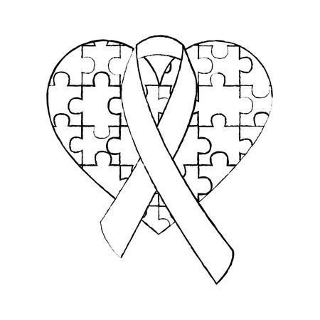Puzzle coeur ruban sensibilisation à l'autisme vector illustration