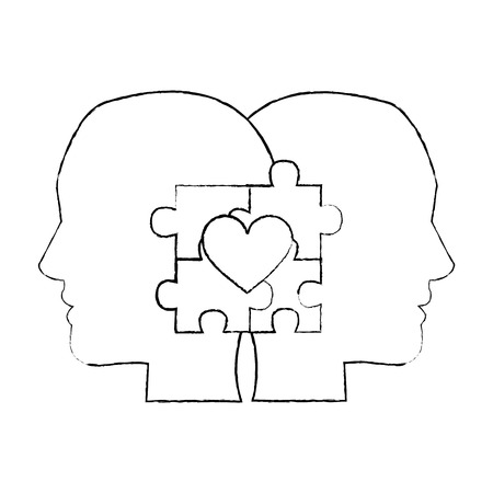 autism awareness day profile heads with puzzle heart vector illustration Stock Illustratie