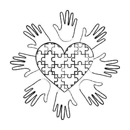 puzzle heart hands support autism awareness vector illustration 일러스트