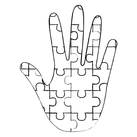 hand made puzzle pieces for autism awareness care vector illustration