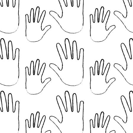 seamless pattern opened hands support symbol vector illustration Stock Illustratie