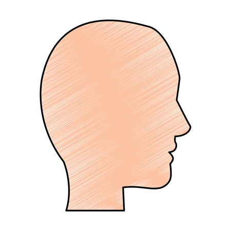human head profile character man vector illustration drawing color design