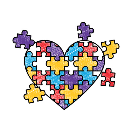jigsaw puzzle heart pieces connect solution vector illustration drawing color design Illustration