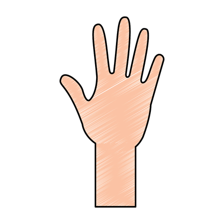 human hand arm open raised vector illustration drawing color design