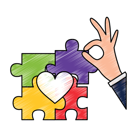 hand complete a jigsaw puzzle heart vector illustration drawing color design 일러스트