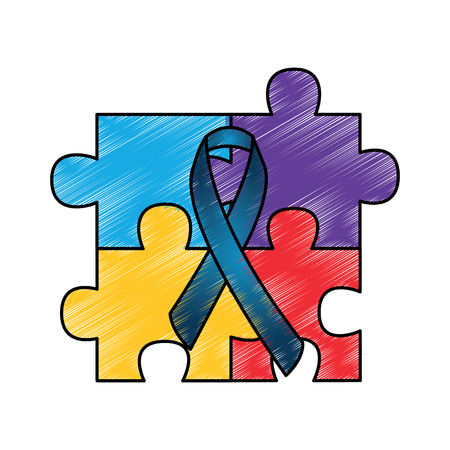 four pieces puzzle and ribbon symbol vector illustration drawing color design Illustration