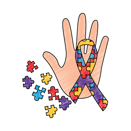 hand puzzle pieces and ribbon autism concept vector illustration drawing color design