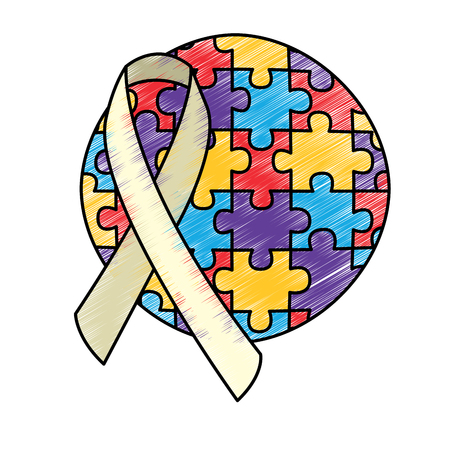 round puzzle pieces with ribbon autism emblem vector illustration drawing color design