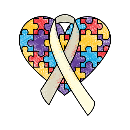 puzzle heart ribbon autism awareness vector illustration drawing color design