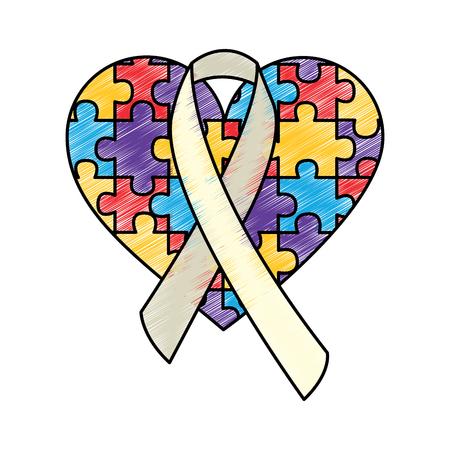 puzzle serce wstążka autyzm świadomość wektor ilustracja rysunek kolor design