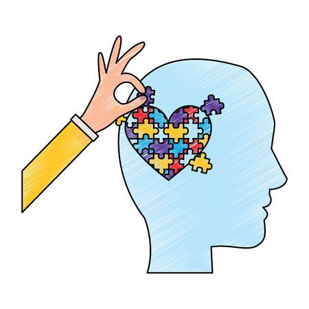 Perfil de la cabeza con rompecabezas corazón autismo conciencia ilustración vectorial dibujo color diseño