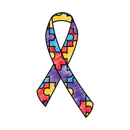 autism awareness ribbon made with jigsaw puzzle vector illustration drawing color design Stockfoto - 95503783