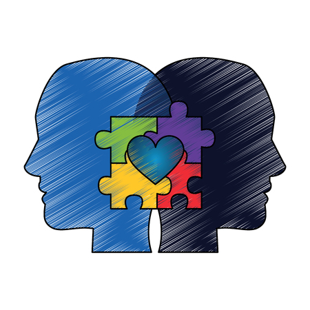 autism awareness day profile heads with puzzle heart vector illustration drawing color design