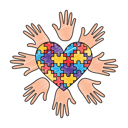 puzzle heart hands support autism awareness vector illustration drawing color design
