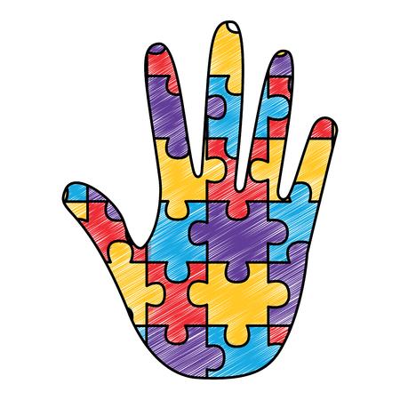 自閉症意識ケアベクトルイラスト描画色のデザインのための手作りのパズルピース  イラスト・ベクター素材